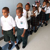 Kindergartners line up on the first day of school at Dr. Martin Luther King Jr. Charter School.