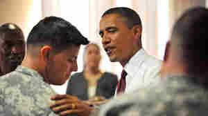 President Obama greeted Iraq war veterans at Fort Bliss, Tex.