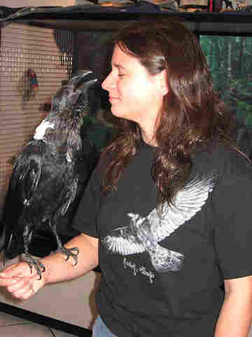Emily Cory and her pet raven, Shade