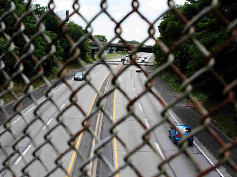 A bridge overlooks where I-95 crosses the Pennsylvania Turnpike.