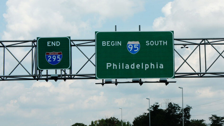 Signs indicate where I-95 begins north of Trenton, N.J. (Joel Rose/NPR)