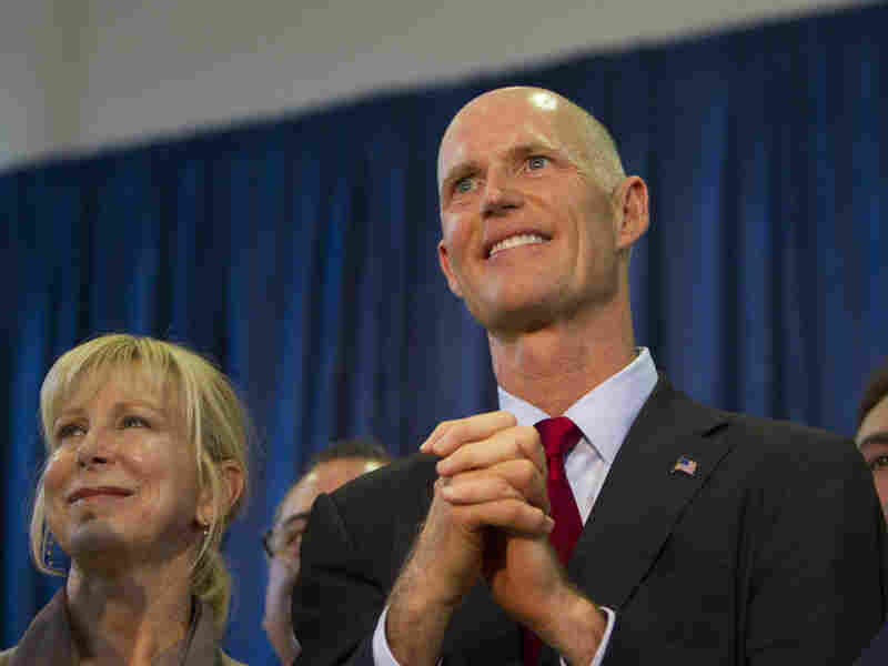 Fla. GOP candidate for governor, Rick Scott, and his wife on his Unity Tour in Miami on Tuesday.