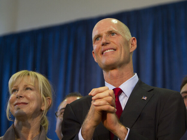 Rick Scott, the Republican candidate for Florida governor, and his wife, Ann, in Miami on Tuesday as part of Scott's Unity Tour. Scott will face Democratic candidate Alex Sink in the general election.