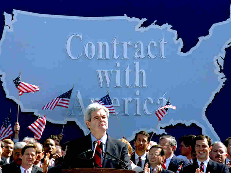 Sept. 27, 1994, then-House Minority Whip Newt Gingrich and other Republicans introduce the Contract.