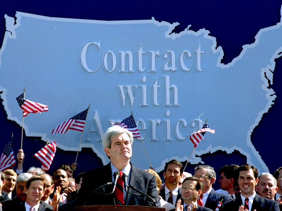 """Sept. 27, 1994: Then-House Minority Whip Newt Gingrich and other Republicans unveil their """"Contract with America"""" at a Capitol Hill rally. (John Duricka/AP)"""