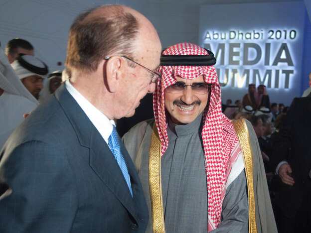 Rupert Murdoch, controlling owner of News Corp., with Prince Al-Waleed bin Talal at the Abu Dhabi Media Summit in March. Waleed holds 7 percent of the voting stock of the media company.