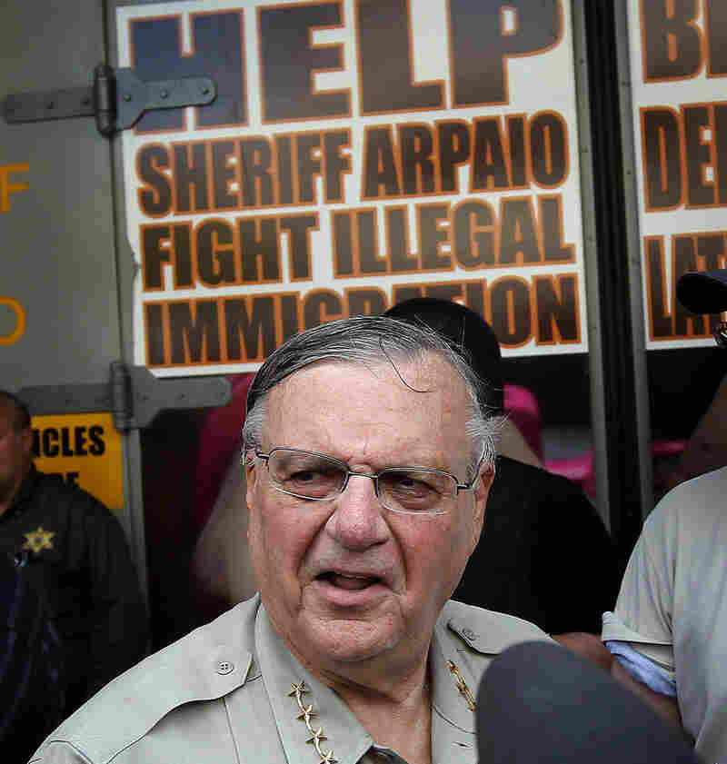 Maricopa County Sheriff Joe Arpaio stands in front of his county jail  in Phoenix.