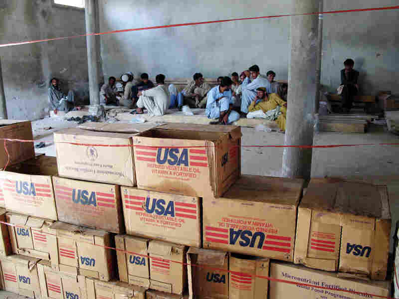 Emergency food aid is stockpiled at a distribution center