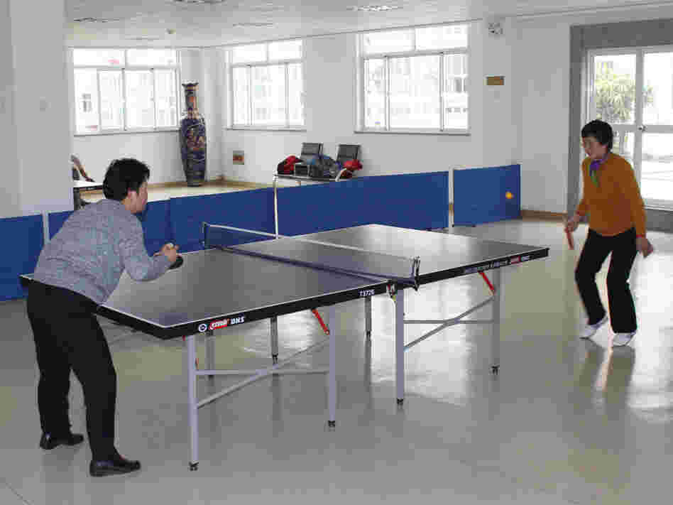 Residents at the Jiangyin Sunset Retirement Village play table tennis