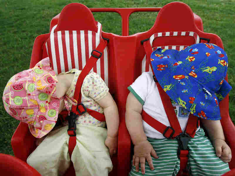 Two babies nap in their multiple-child stroller on the National Mall in Washington, D.C., in 2007