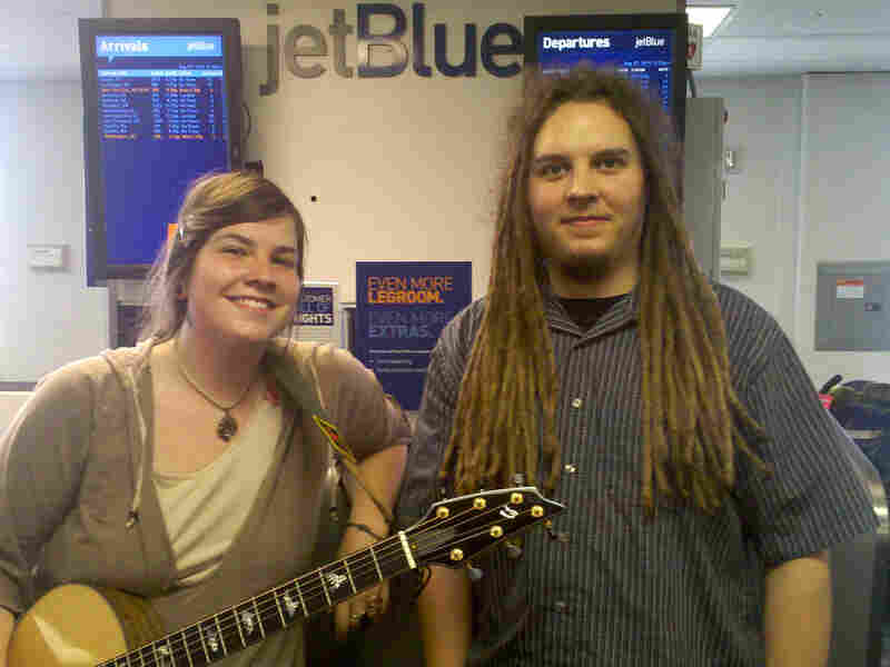 Emma Hill and Bryan Daste are using their JetBlue passes to go on tour with their band.