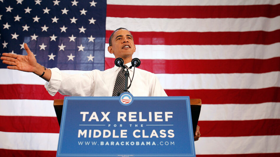 President Obama, shown here in 2008 in New Hampshire, vowed he wouldn't raise taxes for families earning less than $250,000. Keeping the campaign promise would add billions to the deficit every year.