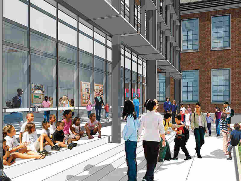The architect's rendering of the porch of recently renovated Stoddert Elementary School in Washington, D.C.