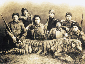 Cossacks with tiger, circa 1885