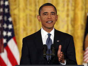 President Obama delivers opening remarks during a White House news conference.