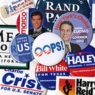 A collage of  campaign buttons.