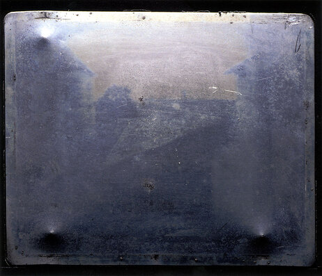 "Official image of the ""first photograph"" -- Joseph Nicephore Niepce's View from the Window at Le Gras, circa 1826 -- in 2003, without manual retouching."