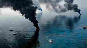 Smoke rises from surface oil being burned near the Deepwater Horizon blowout.