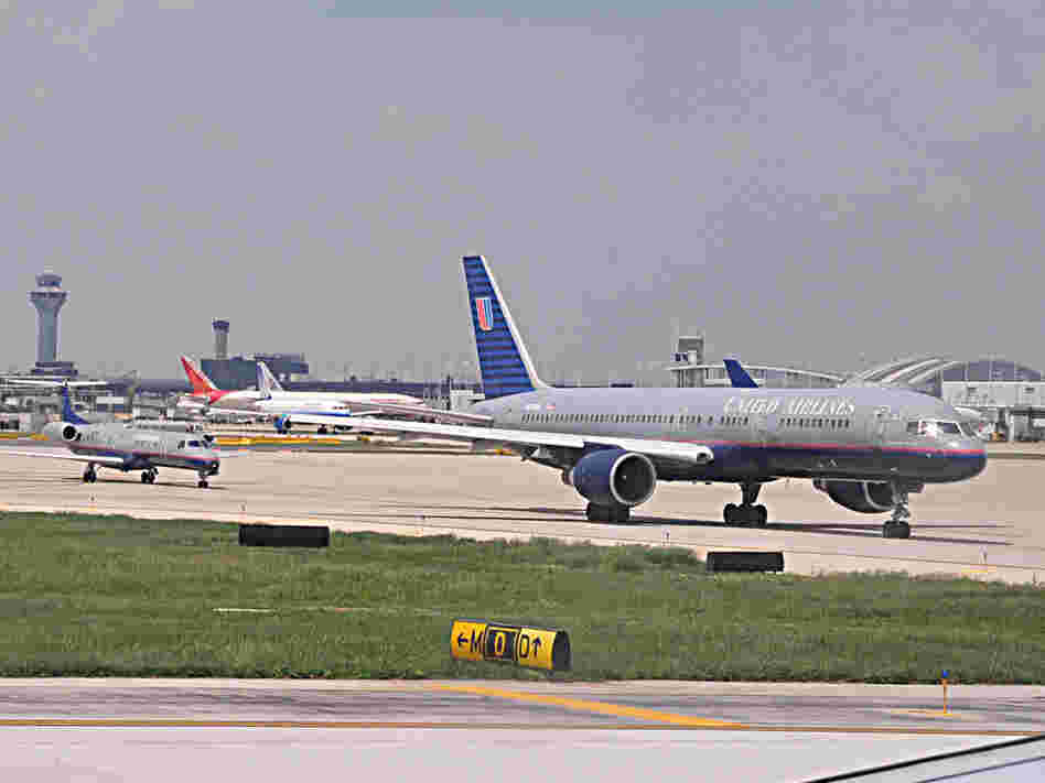 Planes line up for takeoff at Chicago's O'Hare International Airport.