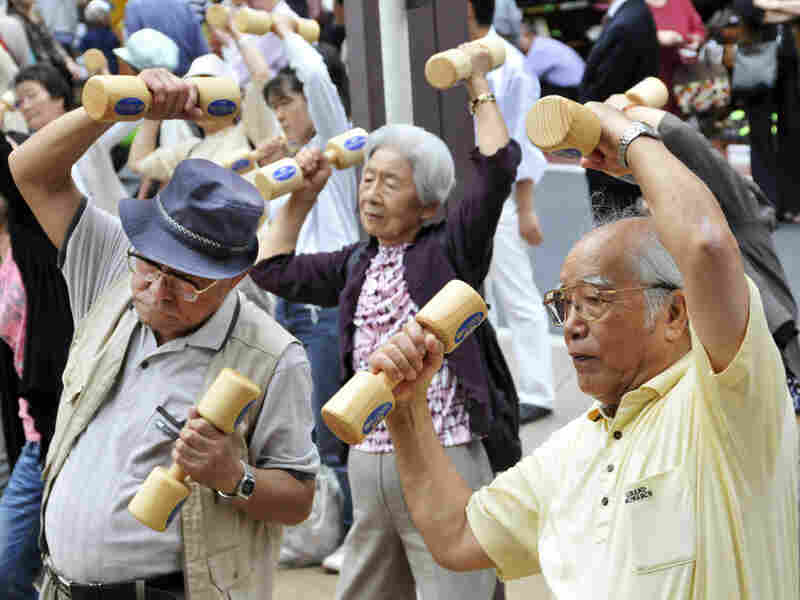 Eldery Japanese exercise during Respect for the Aged Day in Tokyo in 2009