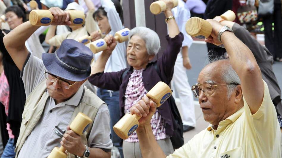 Elderly Japanese exercise on the grounds of a temple in  Tokyo in celebration of Japan's Respect for the Aged Day on Sept. 21, 2009. Japan  prides itself on the world's longest life expectancy but is struggling with a  disturbing footnote to that statistic -- revelations that hundreds of thousands of people  listed as its oldest citizens are either long dead or haven't been heard from  for decades.