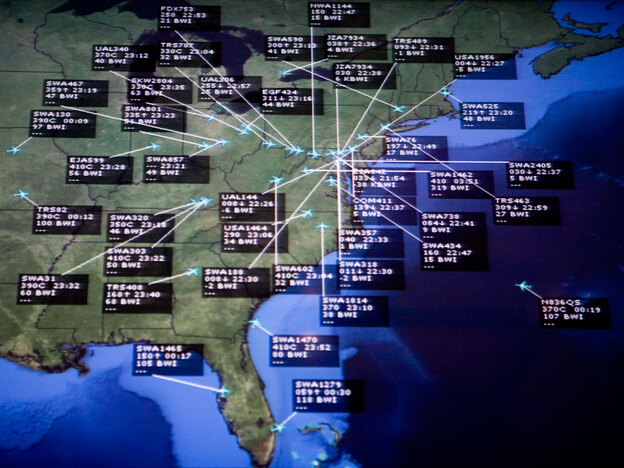 Air traffic control systems are part of the national infrastructure that may someday come under attack, experts say. Here, flights bound for Baltimore/Washington International Thurgood Marshall Airport are highlighted on a monitor.