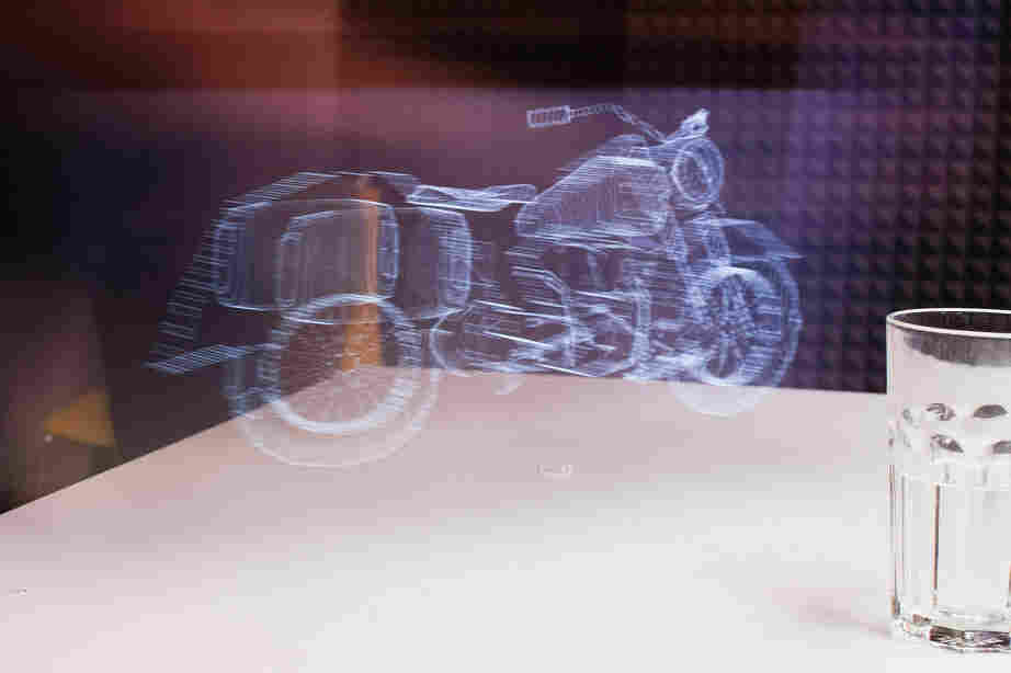 A light-painting of a motorcycle, made with an iPad.