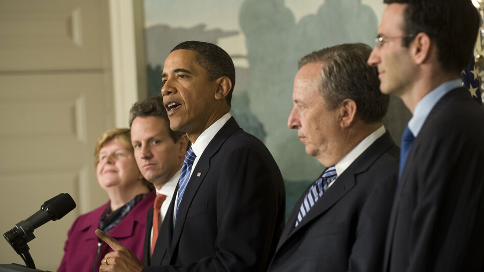 President Obama, speaking at the White House in January, is surrounded by some of his economic advisers at the time including Christina Romer, Timothy Geithner and Lawrence Summers. The president is now considering candidates to direct the National Economic Council when Summers departs later this year.