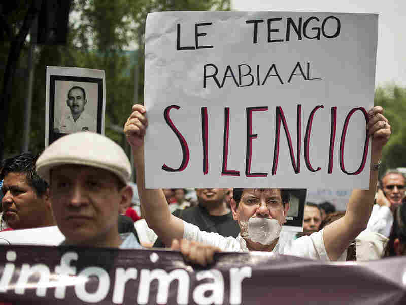 Mexican journalists protest against violence towards journalists on Aug. 7 in Mexico City