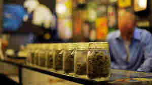 Jars full of medical marijuana are seen at Sunset Junction medical marijuana dispensary in Los Angeles in May.