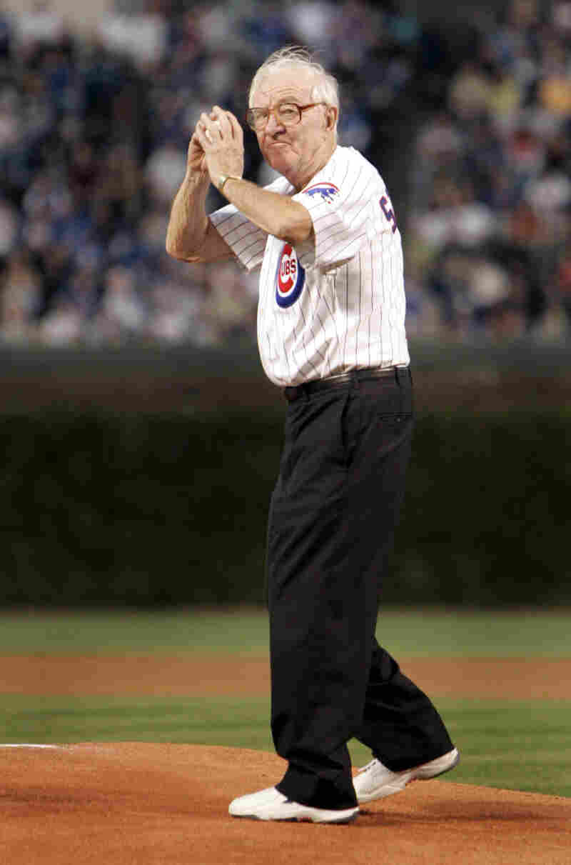 Supreme Court Justice John Paul Stevens throws out the first pitch at Wrigley Field in 2005.