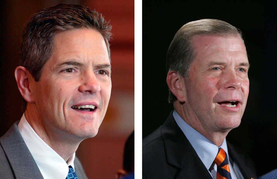 Democrat Mark Schauer (left) ousted Republican Tim Walberg from his House seat in 2008. This year, Walberg is back for a rematch. But outside groups are airing more ads than either candidate.