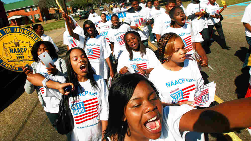 "Two years ago, college students on the NAACP's ""Vote Hard"" bus tour encouraged people to vote in Selma, Ala."