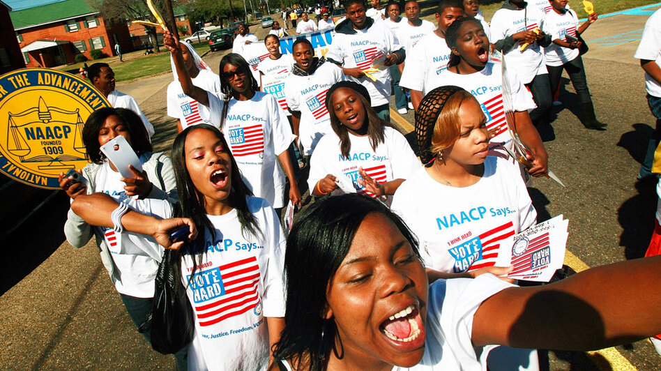 "Two years ago, college students on the NAACP's ""Vote Hard"" bus tour encouraged people to vote in Selma, Ala., in the presidential race. African-American voters went to the polls in droves. Now, the Democratic National Committee is trying to do the same for the midterm elections."