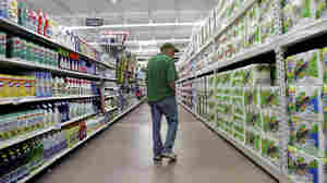 A man looks over items at a new Walmart Supercenter store in Bowling Green, Ohio.
