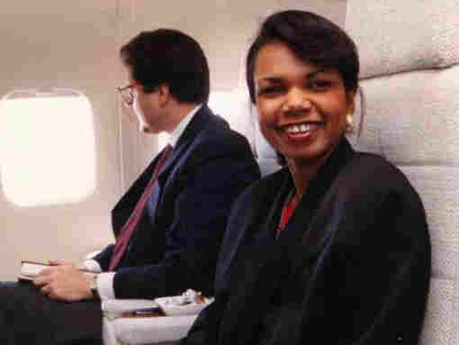 Rice aboard Air Force One in April 1989.