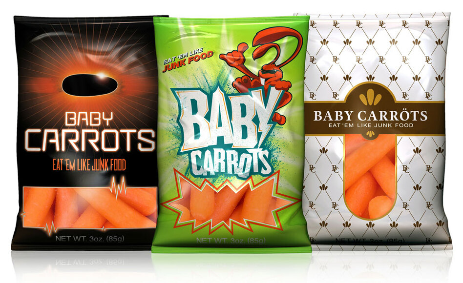 A new campaign is geared toward getting kids to think about carrots as a kind of junk food. Even the packaging is designed to look like it carries junk food.