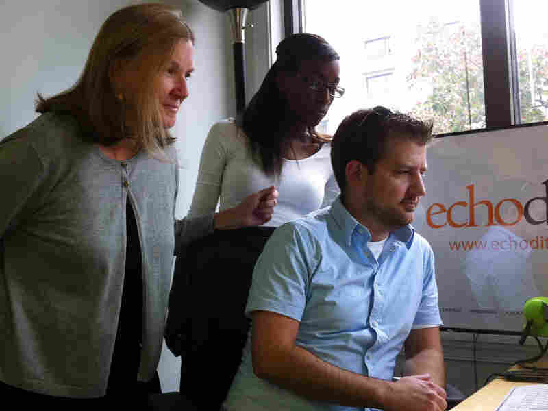 Dibby Johnson, Justin Pinder and Dominique Hodo at the EchoDitto office in Washington, D.C.