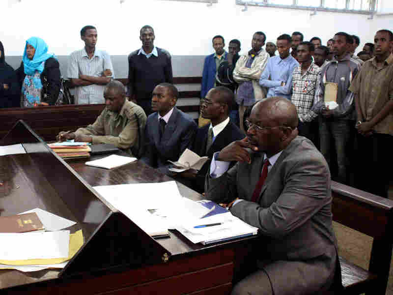 Somalis suspected of being al-Shabab sympathizers in a Kenyan courthouse