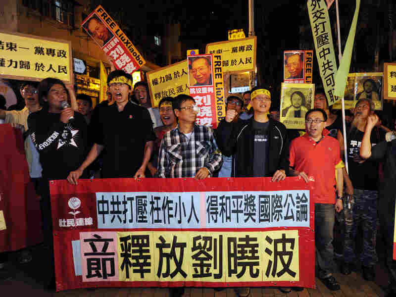 Protestors demonstrate to free Liu Xiaobo