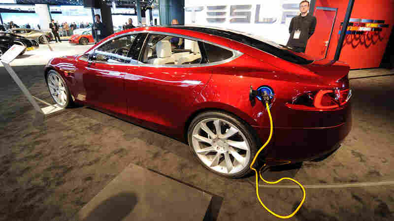 Tesla's Model S on display in Detroit
