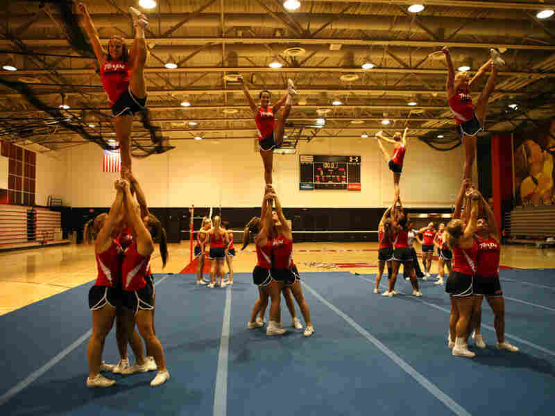 The Terps hold a heel stretch