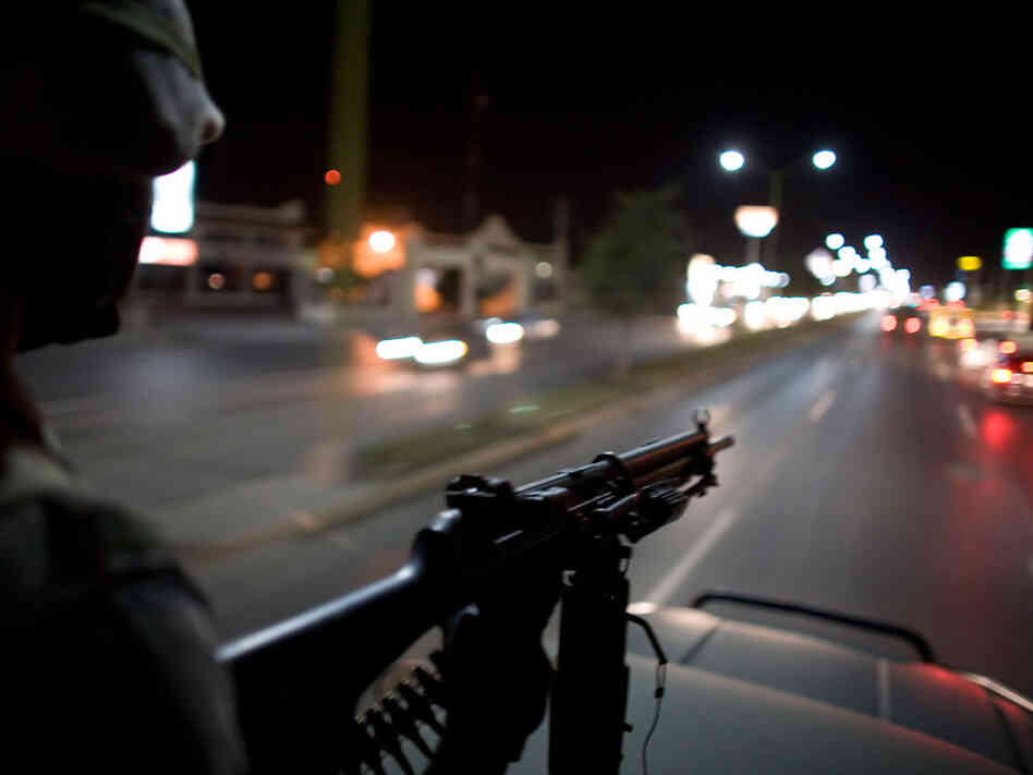Mexican soldiers patrol the streets of Reynosa in 2009.