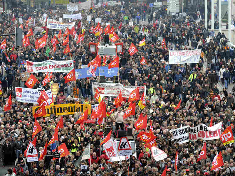 Protesters in Lyon took to the streets over the government's proposed changes to the retirement system.