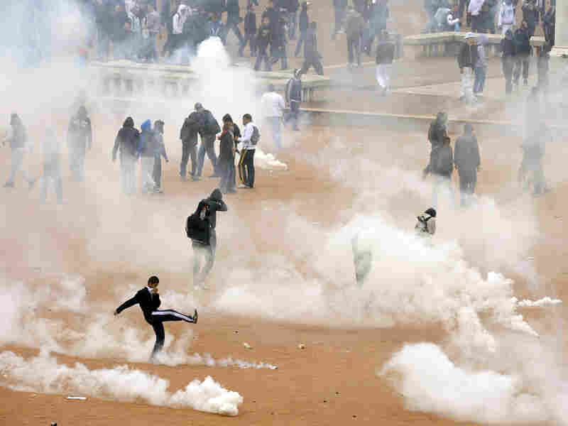 Police fired tear gas to break up a demonstration of high school students in Lyon.