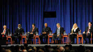 Candidates in the New York governor's race onstage for Monday's debate