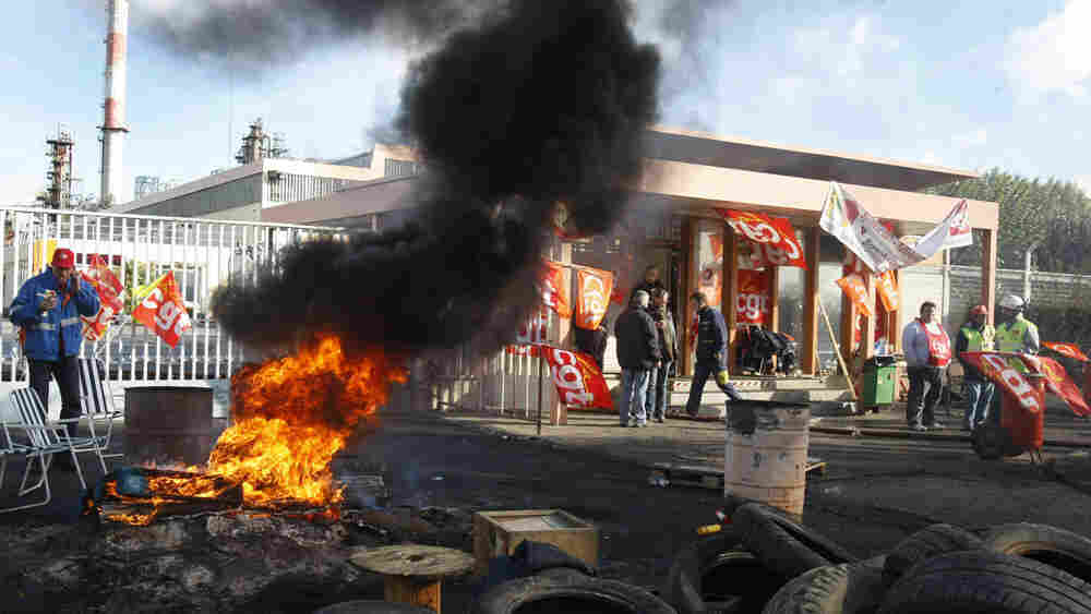 Striking employees blocked the entrance of the Grandpuits refinery east of Paris.