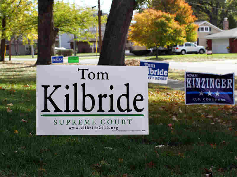 A campaign yard sign for Illinois Supreme Court Justice Tom Kilbride