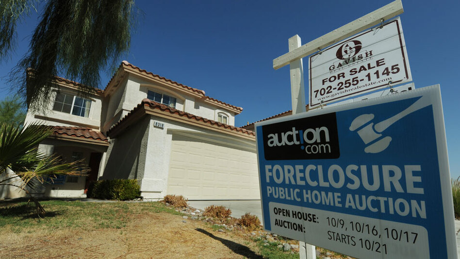 A house under foreclosure that will soon be auctioned in Las Vegas. The Obama administration's foreclosure prevention efforts were blasted this week in a report from a federal auditor.