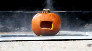 A pumpkin used as a pinhole camera